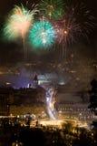 Fuegos artificiales del Año Nuevo en Brasov, Rumania Imagenes de archivo