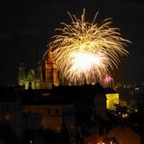 Fuegos artificiales del Año Nuevo, Praga Imagen de archivo