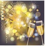 Fuegos artificiales del Año Nuevo y vidrios del champán ilustración del vector