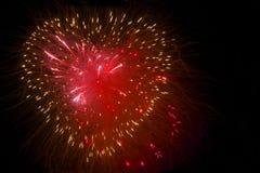 Fuegos artificiales del corazón Foto de archivo libre de regalías