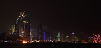 Fuegos artificiales del día nacional de Qatar en Doha Fotografía de archivo libre de regalías