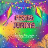 Fuegos artificiales del festival del verano de Festa Junina del carnaval Fotografía de archivo