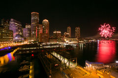 Fuegos artificiales 2 del puerto de Boston Imagen de archivo