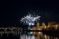 Fuegos artificiales 2018 del ` s del Año Nuevo de Praga Fotografía de archivo libre de regalías