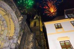 Fuegos artificiales 2018 del ` s del Año Nuevo de Praga Foto de archivo libre de regalías