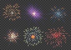 Fuegos artificiales del vector fijados Imagenes de archivo