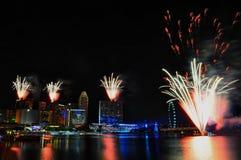 Fuegos artificiales durante la apertura 2010 de los Juegos Olímpicos de la juventud Fotografía de archivo libre de regalías
