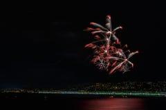 Fuegos artificiales el día celebraciones el 14 de julio en Niza Fotografía de archivo libre de regalías