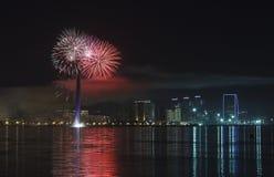Fuegos artificiales en Baku Imágenes de archivo libres de regalías