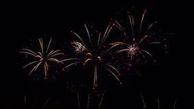Fuegos artificiales en cielo nocturno almacen de video