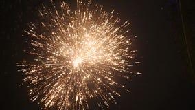 Fuegos artificiales en cielo nocturno metrajes