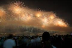 Fuegos artificiales en Copacabana Imagenes de archivo
