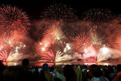 Fuegos artificiales en Copacabana Fotografía de archivo libre de regalías