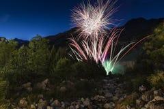 Fuegos artificiales en el bosque en noche de verano Fotografía de archivo