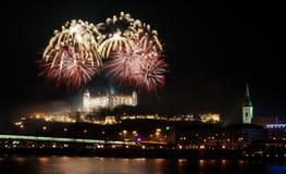Fuegos artificiales en el castillo Imagen de archivo libre de regalías