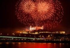 Fuegos artificiales en el castillo Foto de archivo libre de regalías