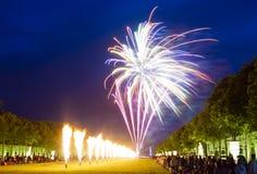 Fuegos artificiales en el castillo francés de Versalles, Francia Fotografía de archivo libre de regalías