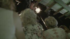 Fuegos artificiales en el cielo almacen de metraje de vídeo