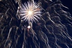 Fuegos artificiales en el cielo nocturno. Imagen de archivo libre de regalías