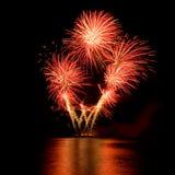 Fuegos artificiales en el cielo nocturno Imagen de archivo