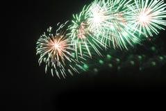 Fuegos artificiales en el cielo nocturno Fotos de archivo libres de regalías