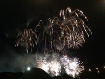 Fuegos artificiales en el cielo nocturno Fotos de archivo