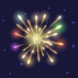 Fuegos artificiales en el cielo oscuro con las estrellas Imágenes de archivo libres de regalías