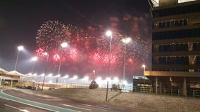 Fuegos artificiales en el color de Yas Marina Circuit Red Imagen de archivo