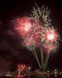 Fuegos artificiales en el ensayo del día nacional de Singapur Fotos de archivo