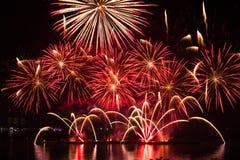 Fuegos artificiales en el espacio del Año Nuevo y de la copia Fotografía de archivo