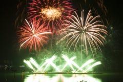 Fuegos artificiales en el espacio del Año Nuevo y de la copia Fotos de archivo