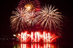 Fuegos artificiales en el espacio del Año Nuevo y de la copia Imagen de archivo libre de regalías