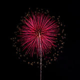 Fuegos artificiales en el fondo del cielo nocturno Imagen de archivo