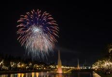 Fuegos artificiales en el parque de la ciudad Imagen de archivo libre de regalías