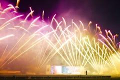Fuegos artificiales en hipódromo del estaño de Sha Imagen de archivo libre de regalías