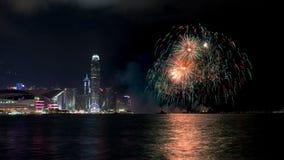 Fuegos artificiales en Hong Kong Fotos de archivo