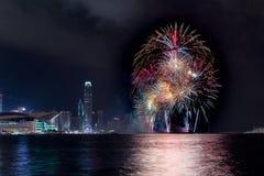 Fuegos artificiales en Hong Kong Fotos de archivo libres de regalías