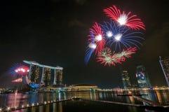 Fuegos artificiales en la apertura de los Juegos Olímpicos de la juventud Foto de archivo libre de regalías