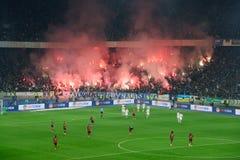 Fuegos artificiales en la arena del fútbol en Kiev Imagenes de archivo