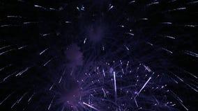 Fuegos artificiales en la noche de la celebración del Año Nuevo del día de fiesta almacen de metraje de vídeo