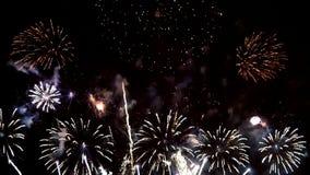 Fuegos artificiales en la noche del día de fiesta de la celebración almacen de metraje de vídeo