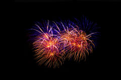 Fuegos artificiales en la noche Fuegos artificiales de la celebración del Año Nuevo, fuegos artificiales coloridos sobre el cielo Imagen de archivo libre de regalías