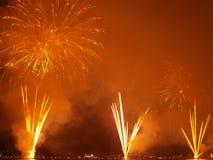 Fuegos artificiales en la playa Foto de archivo libre de regalías
