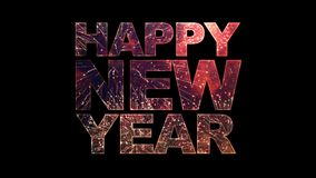 Fuegos artificiales en texto de la Feliz Año Nuevo con alfa ilustración del vector