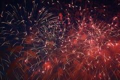 Fuegos artificiales en tonos rojos Fotografía de archivo