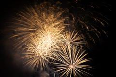 Fuegos artificiales en un cielo nocturno Foto de archivo