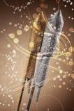 Fuegos artificiales festivos del cohete de la plata y del oro Imagenes de archivo