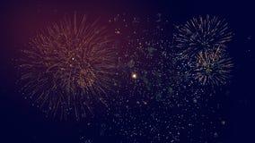Fuegos artificiales festivos en un cielo almacen de metraje de vídeo