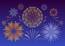 Fuegos artificiales festivos Flash brillante en un fondo oscuro ilustración del vector