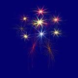 Fuegos artificiales festivos, grandes, multicolores en un ejemplo azul del fondo Imagen de archivo libre de regalías